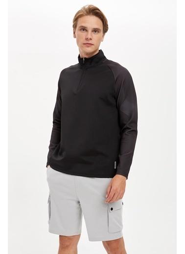 Defacto –Fit Balıkçı Yaka Spor Sweatshirt Siyah